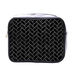 Brick2 Black Marble & Gray Leather Mini Toiletries Bags by trendistuff