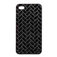 Brick2 Black Marble & Gray Leather Apple Iphone 4/4s Seamless Case (black) by trendistuff
