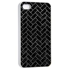 Brick2 Black Marble & Gray Leather Apple Iphone 4/4s Seamless Case (white) by trendistuff