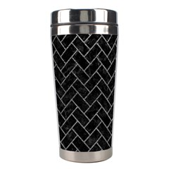 Brick2 Black Marble & Gray Leather Stainless Steel Travel Tumblers by trendistuff