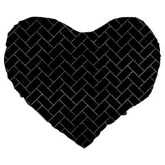 Brick2 Black Marble & Gray Leather Large 19  Premium Flano Heart Shape Cushions by trendistuff