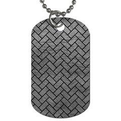 Brick2 Black Marble & Gray Leather (r) Dog Tag (two Sides) by trendistuff