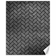 Brick2 Black Marble & Gray Leather (r) Canvas 11  X 14   by trendistuff