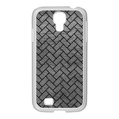 Brick2 Black Marble & Gray Leather (r) Samsung Galaxy S4 I9500/ I9505 Case (white) by trendistuff