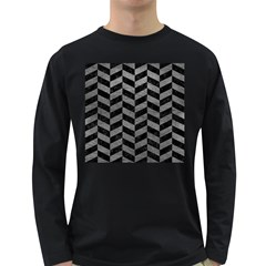 Chevron1 Black Marble & Gray Leather Long Sleeve Dark T Shirts by trendistuff