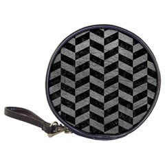 Chevron1 Black Marble & Gray Leather Classic 20 Cd Wallets by trendistuff