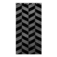Chevron1 Black Marble & Gray Leather Shower Curtain 36  X 72  (stall)  by trendistuff