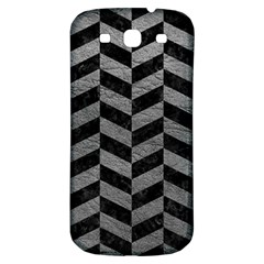 Chevron1 Black Marble & Gray Leather Samsung Galaxy S3 S Iii Classic Hardshell Back Case by trendistuff