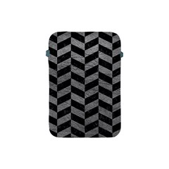 Chevron1 Black Marble & Gray Leather Apple Ipad Mini Protective Soft Cases by trendistuff