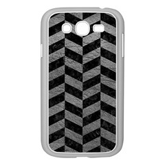 Chevron1 Black Marble & Gray Leather Samsung Galaxy Grand Duos I9082 Case (white)