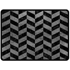 Chevron1 Black Marble & Gray Leather Double Sided Fleece Blanket (large)  by trendistuff