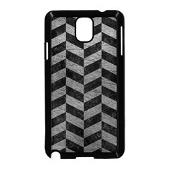 Chevron1 Black Marble & Gray Leather Samsung Galaxy Note 3 Neo Hardshell Case (black) by trendistuff