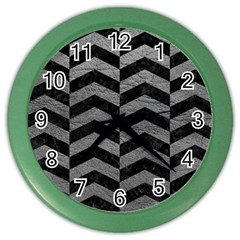 Chevron2 Black Marble & Gray Leather Color Wall Clocks