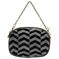 Chevron2 Black Marble & Gray Leather Chain Purses (one Side)  by trendistuff