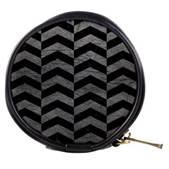 Chevron2 Black Marble & Gray Leather Mini Makeup Bags by trendistuff