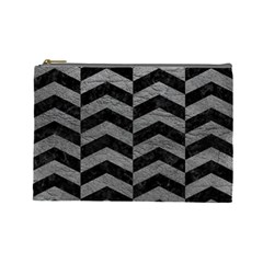 Chevron2 Black Marble & Gray Leather Cosmetic Bag (large)  by trendistuff