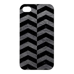 Chevron2 Black Marble & Gray Leather Apple Iphone 4/4s Hardshell Case by trendistuff