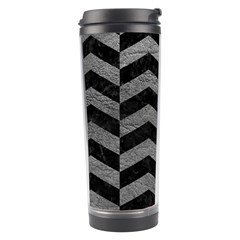 Chevron2 Black Marble & Gray Leather Travel Tumbler by trendistuff