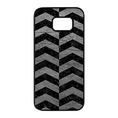 Chevron2 Black Marble & Gray Leather Samsung Galaxy S7 Edge Black Seamless Case by trendistuff