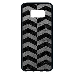 Chevron2 Black Marble & Gray Leather Samsung Galaxy S8 Plus Black Seamless Case by trendistuff