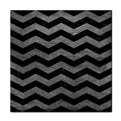 Chevron3 Black Marble & Gray Leather Tile Coasters by trendistuff