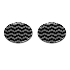 Chevron3 Black Marble & Gray Leather Cufflinks (oval) by trendistuff