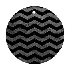 Chevron3 Black Marble & Gray Leather Round Ornament (two Sides) by trendistuff