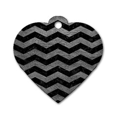 Chevron3 Black Marble & Gray Leather Dog Tag Heart (two Sides) by trendistuff