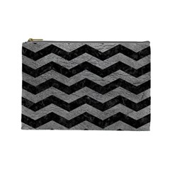 Chevron3 Black Marble & Gray Leather Cosmetic Bag (large)  by trendistuff