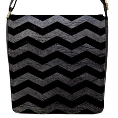 Chevron3 Black Marble & Gray Leather Flap Messenger Bag (s) by trendistuff