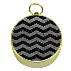 Chevron3 Black Marble & Gray Leather Gold Compasses by trendistuff