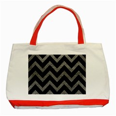 Chevron9 Black Marble & Gray Leather Classic Tote Bag (red) by trendistuff