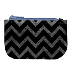 Chevron9 Black Marble & Gray Leather Large Coin Purse by trendistuff