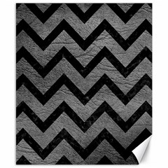 Chevron9 Black Marble & Gray Leather (r) Canvas 8  X 10  by trendistuff