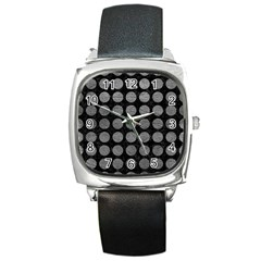 Circles1 Black Marble & Gray Leather Square Metal Watch by trendistuff