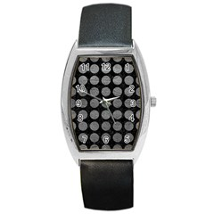 Circles1 Black Marble & Gray Leather Barrel Style Metal Watch by trendistuff