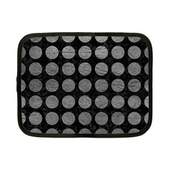 Circles1 Black Marble & Gray Leather Netbook Case (small)  by trendistuff
