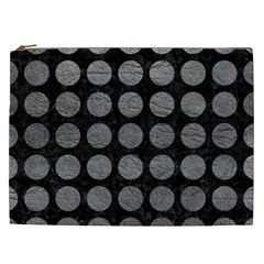 Circles1 Black Marble & Gray Leather Cosmetic Bag (xxl)  by trendistuff