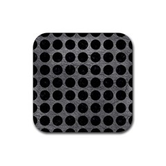 Circles1 Black Marble & Gray Leather (r) Rubber Coaster (square)  by trendistuff