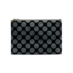 Circles2 Black Marble & Gray Leather Cosmetic Bag (medium)  by trendistuff