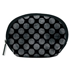 Circles2 Black Marble & Gray Leather Accessory Pouches (medium)  by trendistuff