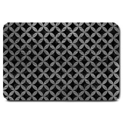 Circles3 Black Marble & Gray Leather Large Doormat  by trendistuff