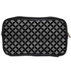 Circles3 Black Marble & Gray Leather (r) Toiletries Bags 2 Side by trendistuff