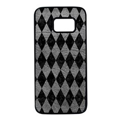 Diamond1 Black Marble & Gray Leather Samsung Galaxy S7 Black Seamless Case by trendistuff