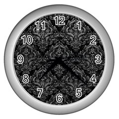 Damask1 Black Marble & Gray Leather Wall Clocks (silver)  by trendistuff