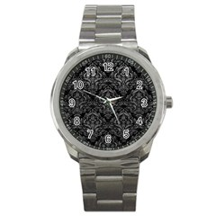 Damask1 Black Marble & Gray Leather Sport Metal Watch by trendistuff