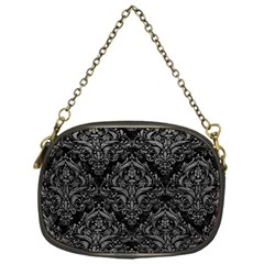 Damask1 Black Marble & Gray Leather Chain Purses (one Side)  by trendistuff