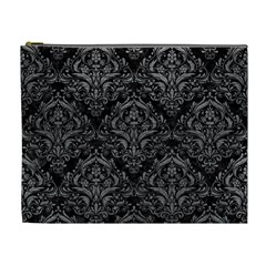 Damask1 Black Marble & Gray Leather Cosmetic Bag (xl) by trendistuff