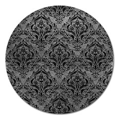 Damask1 Black Marble & Gray Leather (r) Magnet 5  (round) by trendistuff