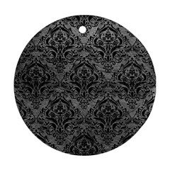 Damask1 Black Marble & Gray Leather (r) Round Ornament (two Sides) by trendistuff